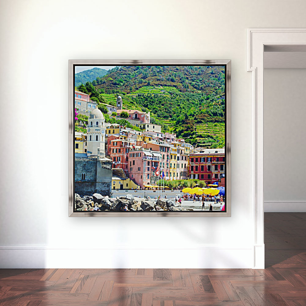 Colorful village of Cinque Terre with Floating Frame