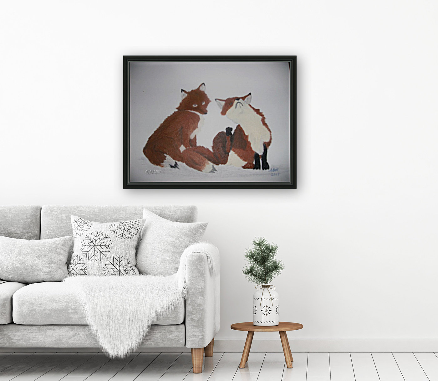 Red Fox pair with Floating Frame