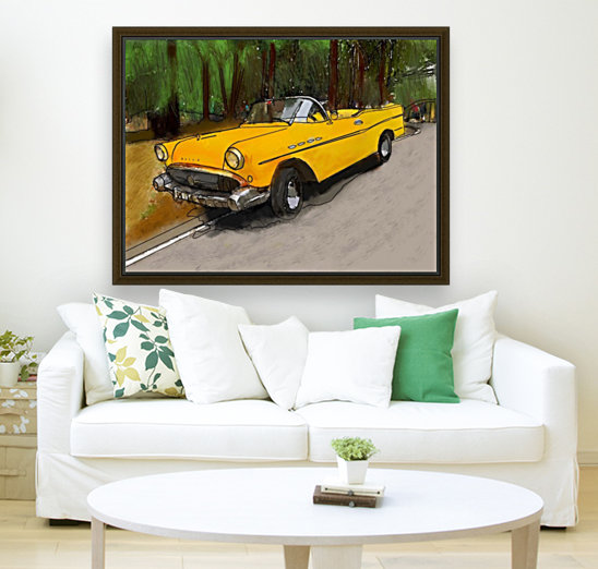 Cuba Yellow Car  Art