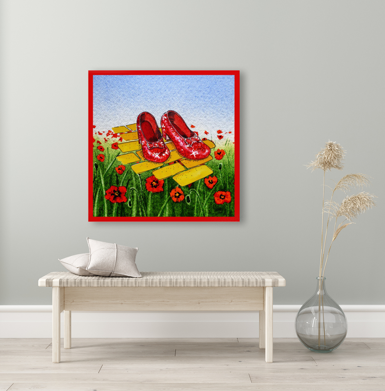 Ruby Slippers Yellow Brick Road Red Poppies Field  Art