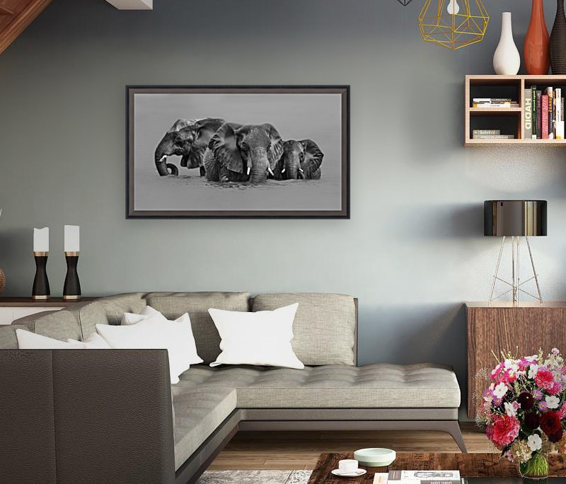 Elephant Crossing The River  Art