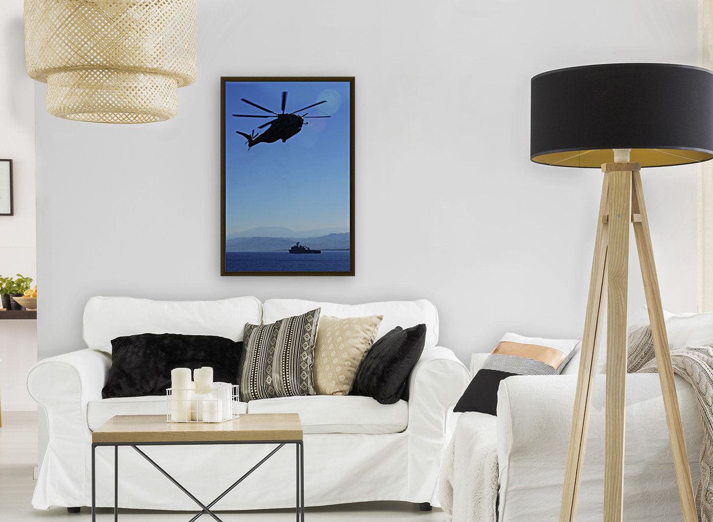 A CH-53E Super Stallion helicopter.  Art