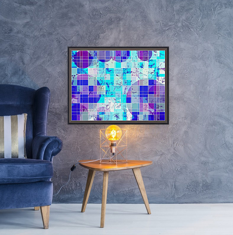 geometric square and circle pattern abstract in blue  Art