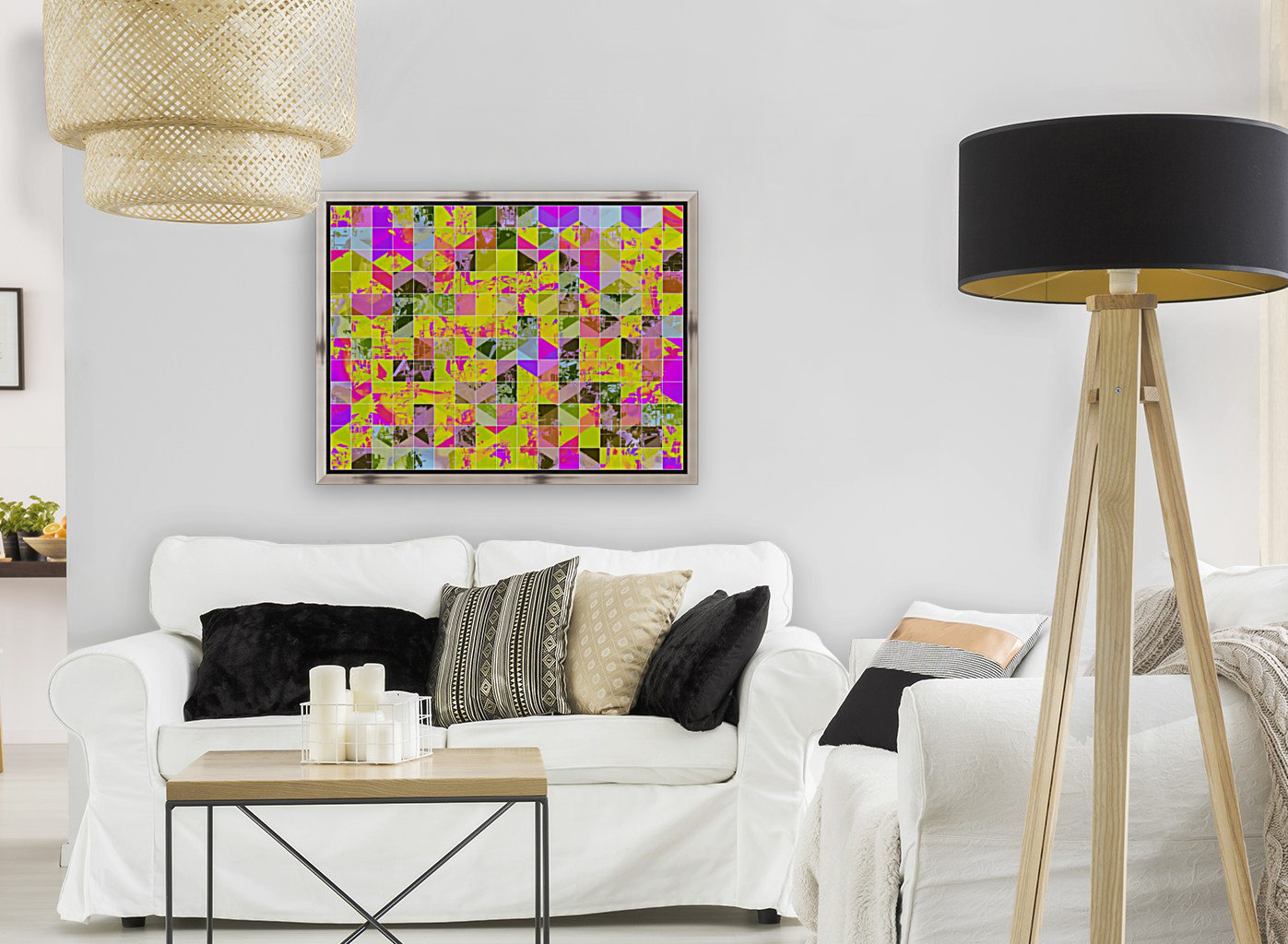 geometric square pattern abstract in yellow green pink  Art