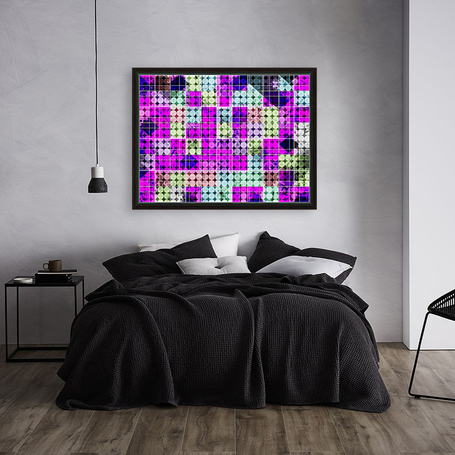 geometric square and circle pattern abstract in pink blue  Art