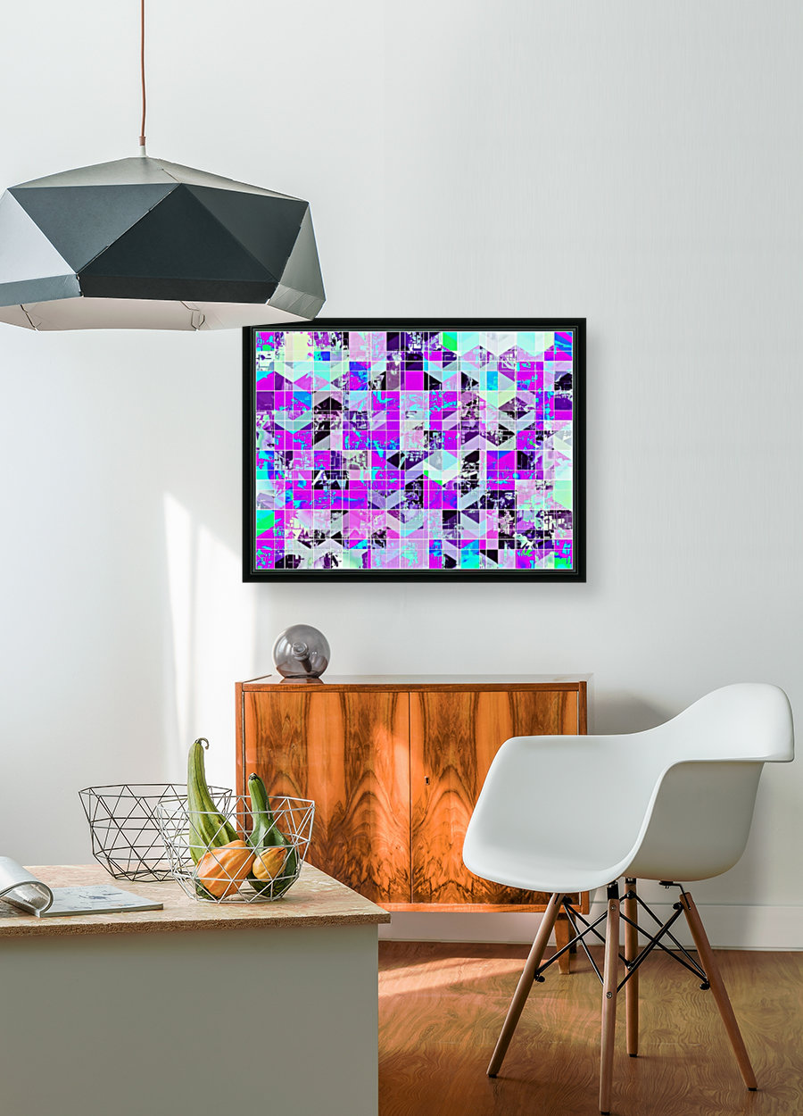 geometric square pattern abstract in purple blue  Art