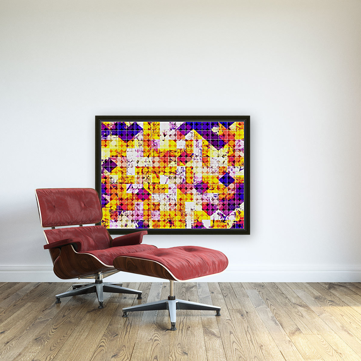 geometric square and circle pattern abstract in orange blue  Art