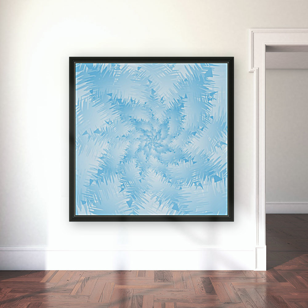Blue Snowflake Spiral with Floating Frame