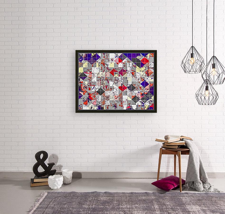 geometric square pixel pattern abstract in purple orange red  Art
