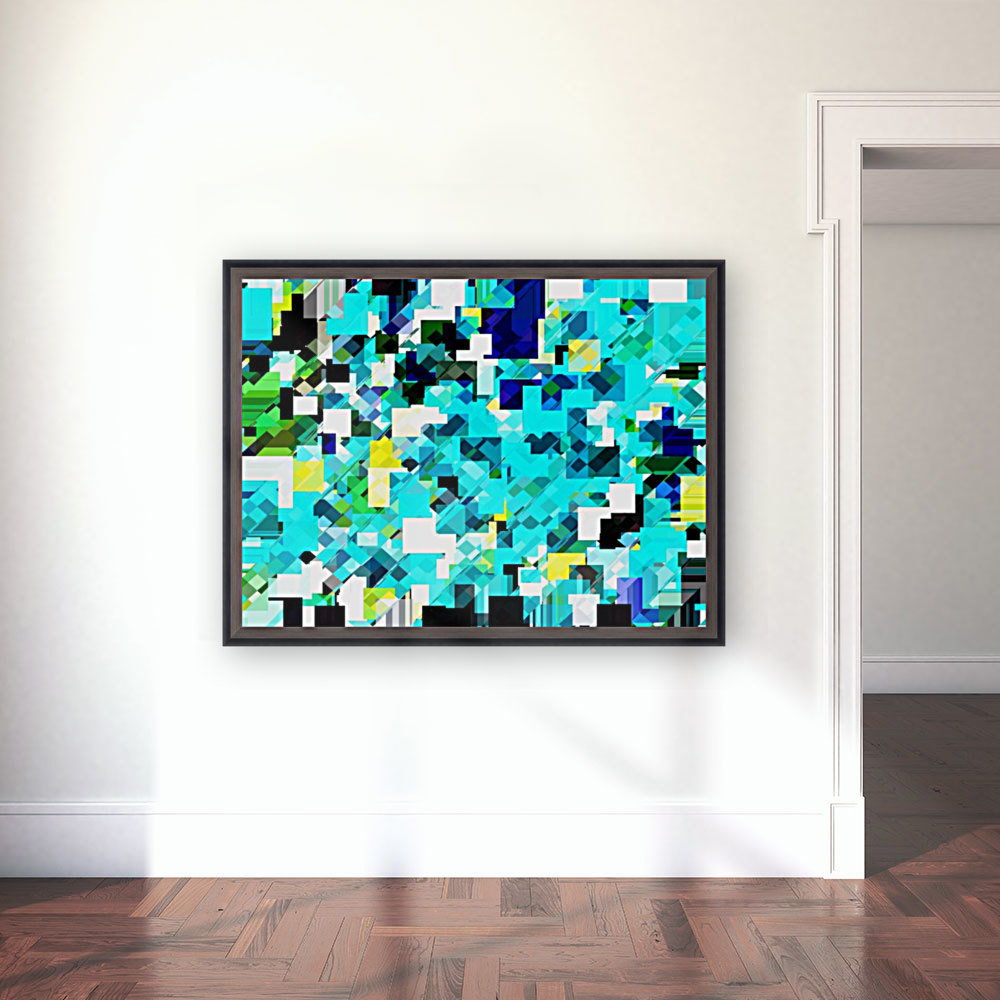 geometric square pixel pattern abstract in blue and yellow  Art