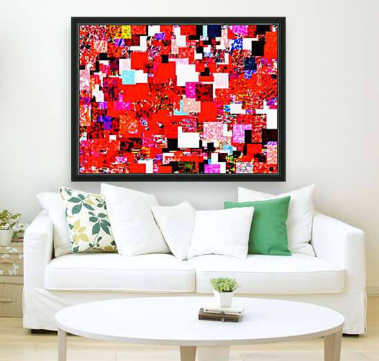 geometric square pixel pattern abstract in red blue pink  Art