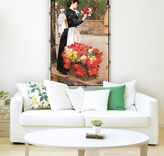 Flower girl by Hassam with Floating Frame