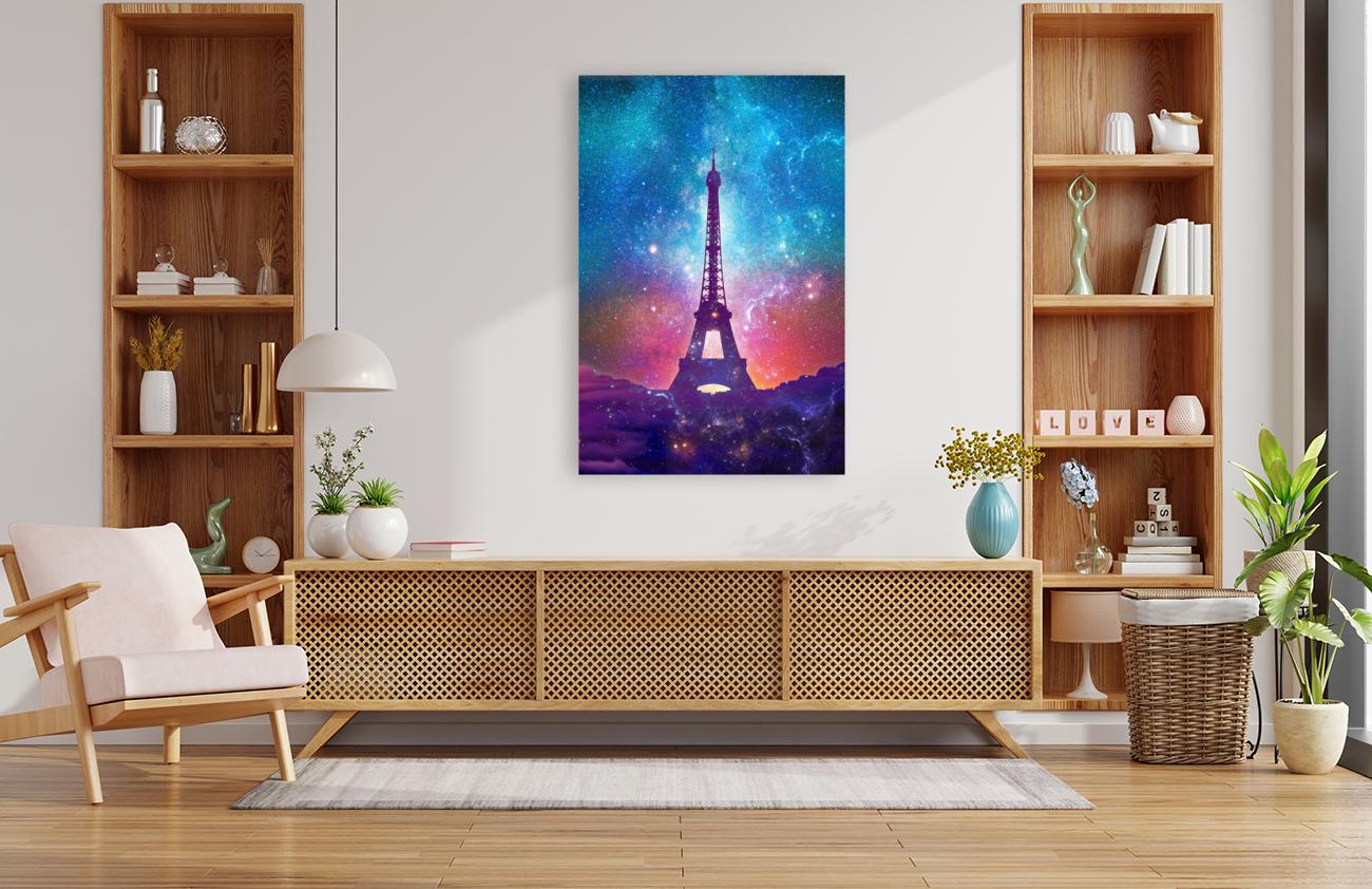 Eiffel Tower - Milky Way Collage  Art