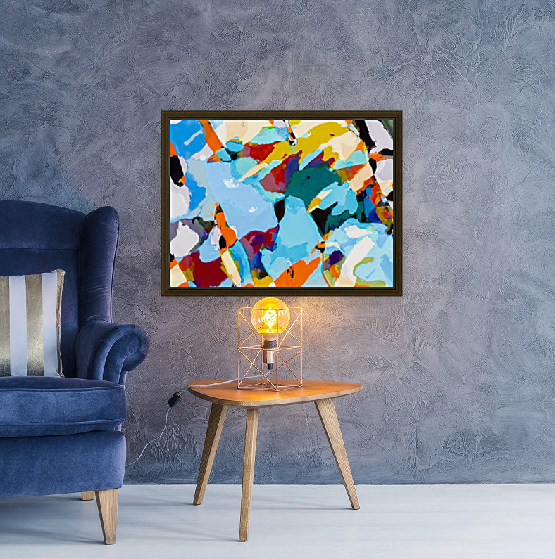 painting texture abstract in blue orange green yellow  Art