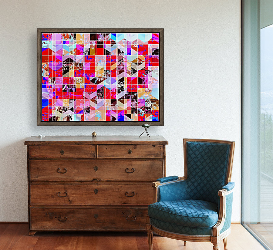 geometric square and triangle pattern abstract in red pink blue  Art