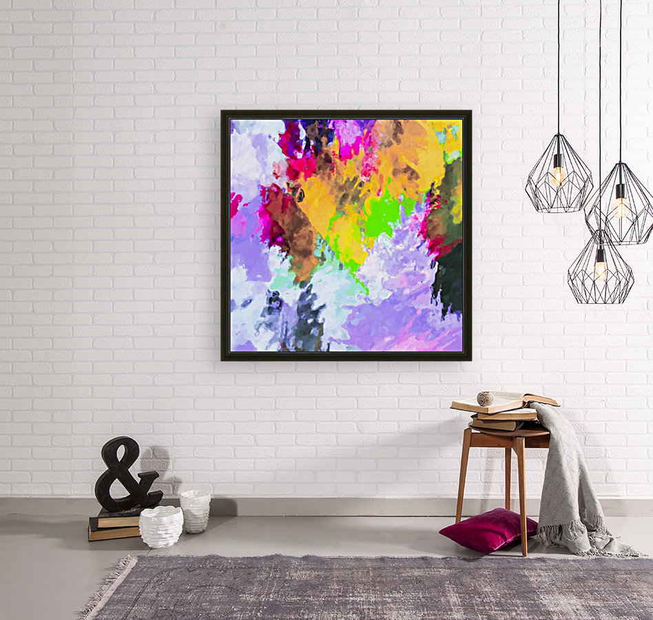 painting texture abstract background in purple yellow green pink  Art