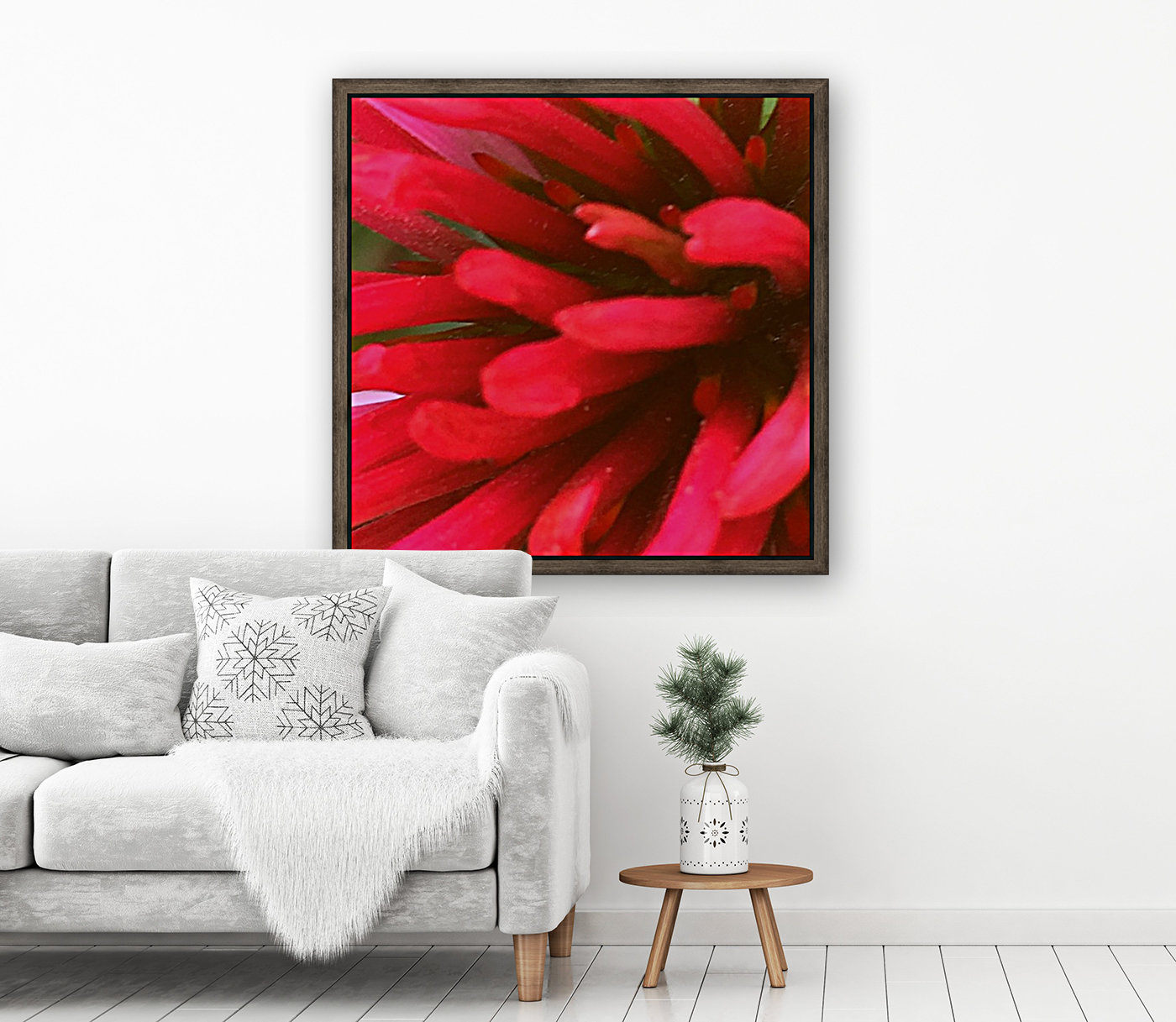 Red blossom  with Floating Frame