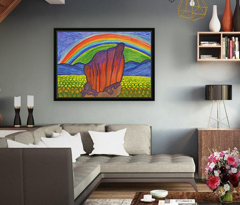 Mystical rock under the rainbow  Art