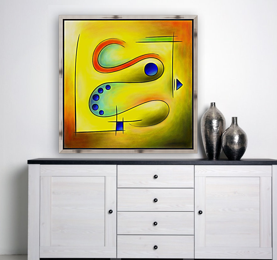 Nerive mosa - frozen snake in blue orange valley with Floating Frame