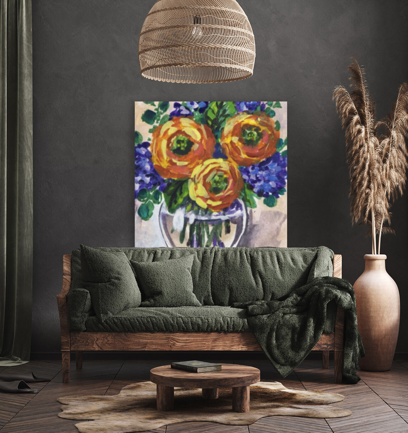 Impressionistic Flowers Warm Yellow Joy with Floating Frame