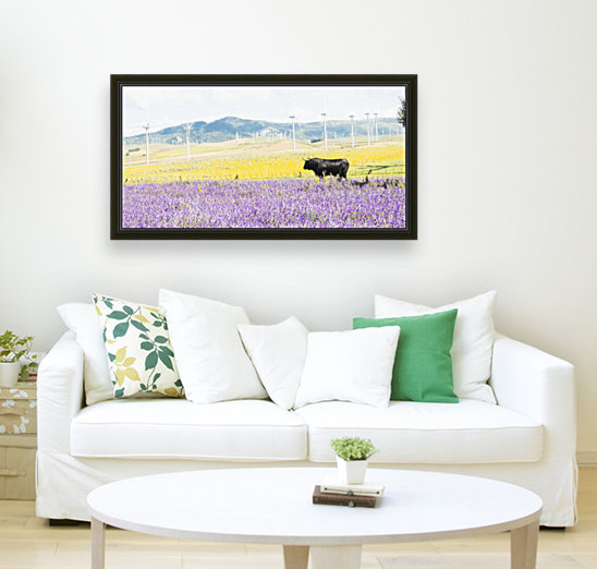 BULL AMONGST FLOWERS with Floating Frame