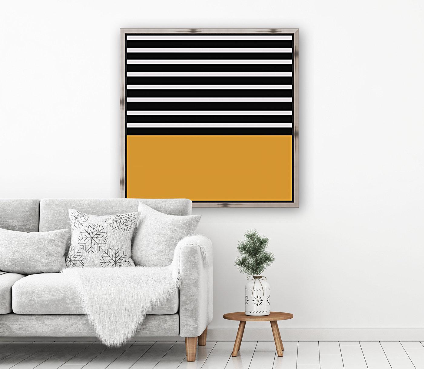 Black & White Stripes with Honey Patch  Art