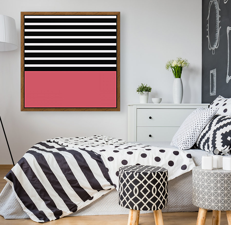 Black & White Stripes with Bitter Sweet Patch with Floating Frame