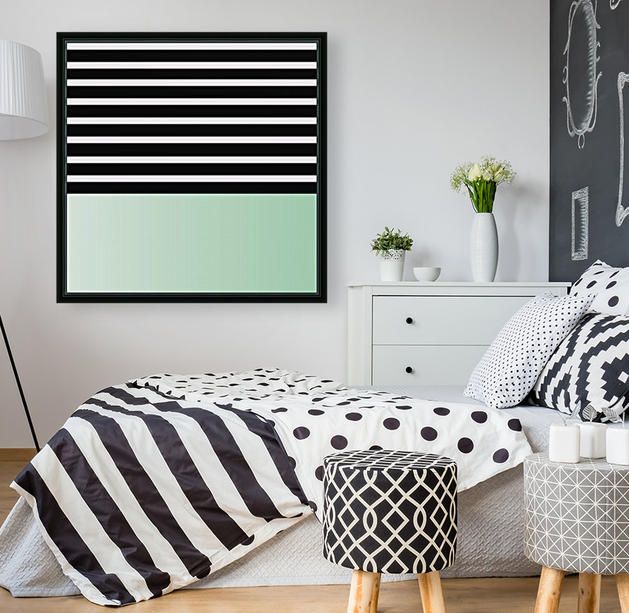 Black & White Stripes with Green Patch  Art