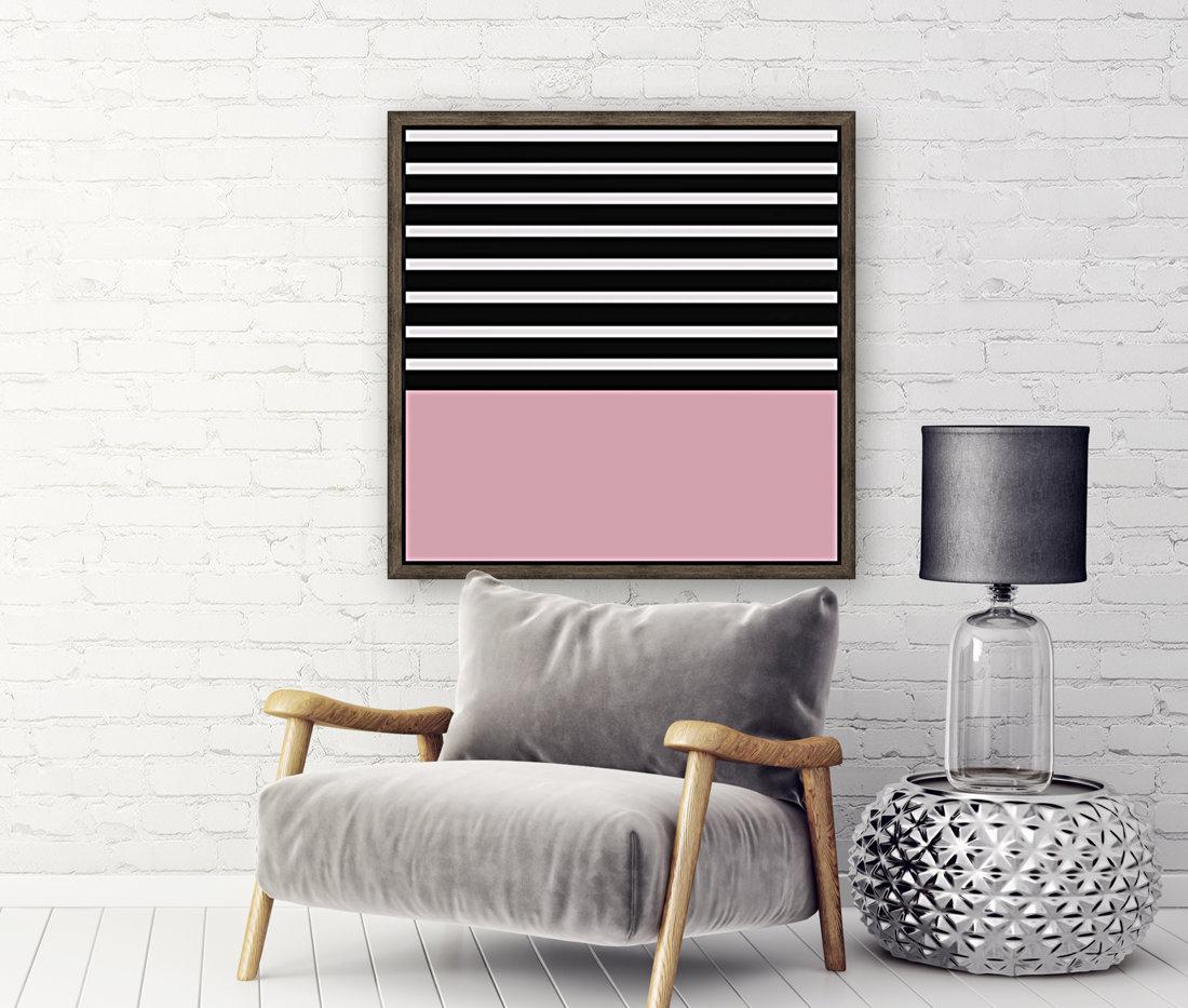 Black & White Stripes with Beauty Bush Patch  Art
