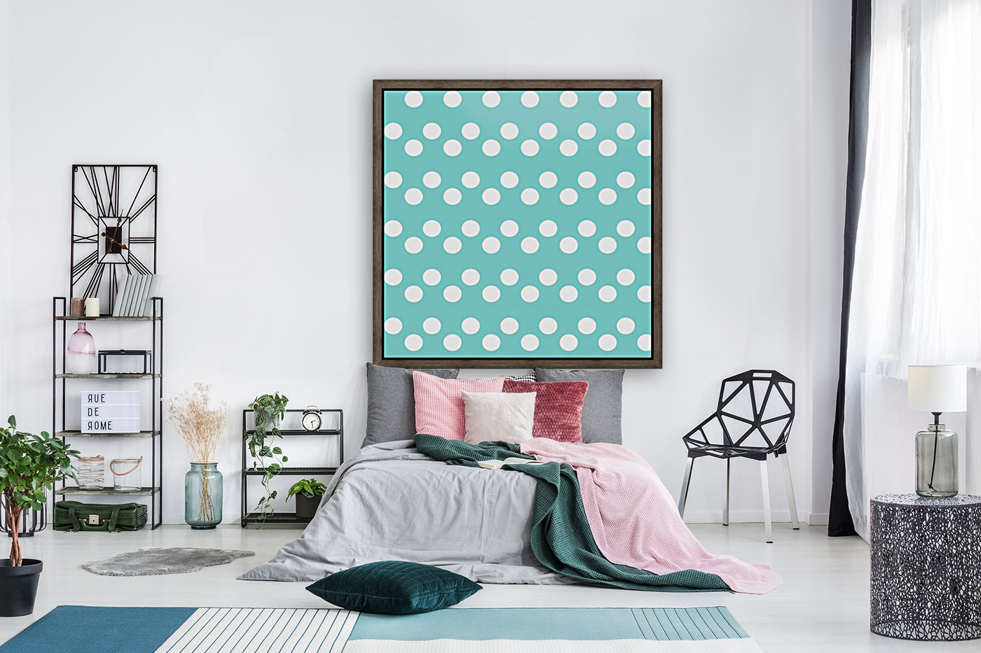 MINT Polka Dots with Floating Frame