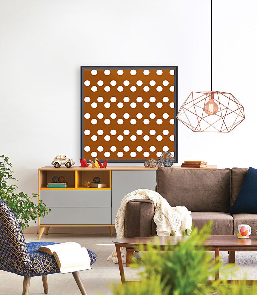 RUST Polka Dots with Floating Frame
