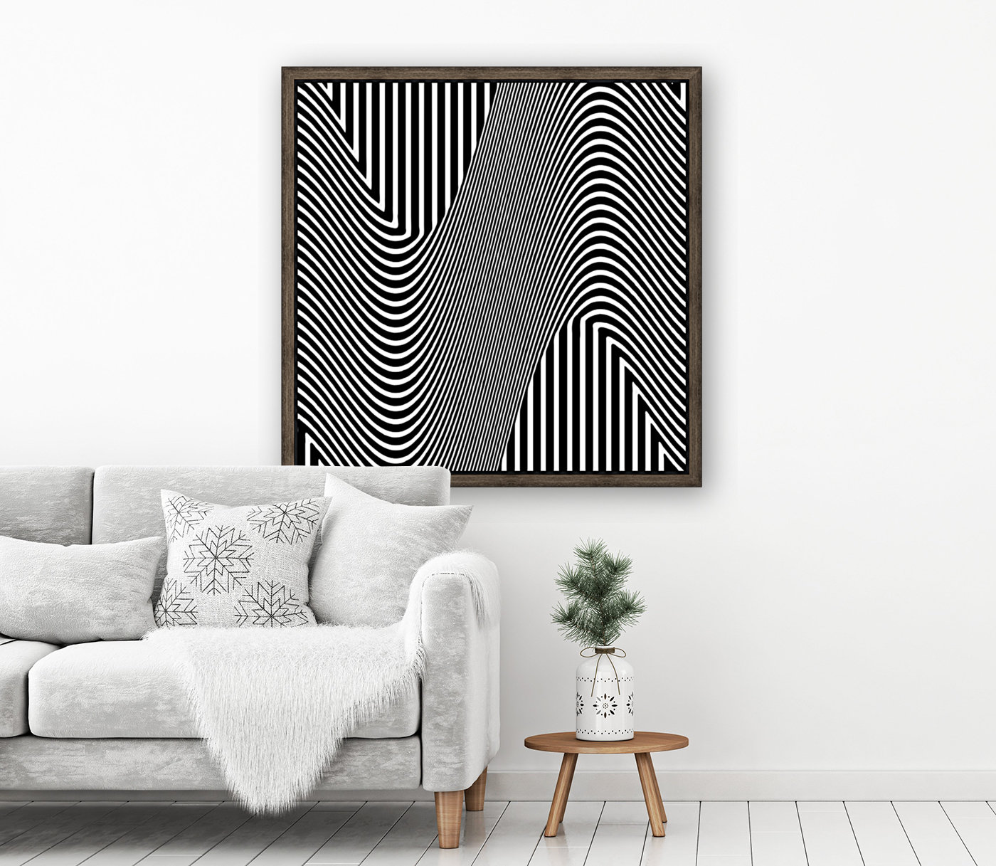 Black and White Abstract Geometric Design 1 with Floating Frame