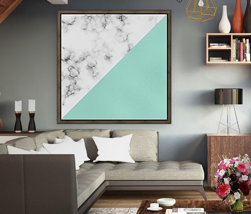 ABSTRACT MODERN TURQUOISE GLASS MARBLE  Art