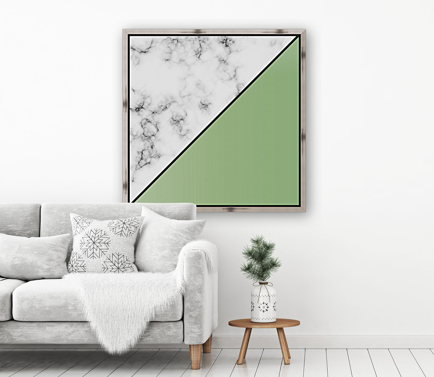 ABSTRACT MODERN YELLOW GREEN MARBLE  Art