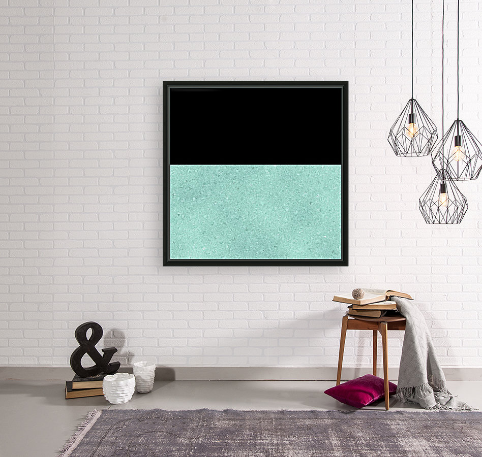 ABSTRACT TURQUOISE GLITTER with Floating Frame