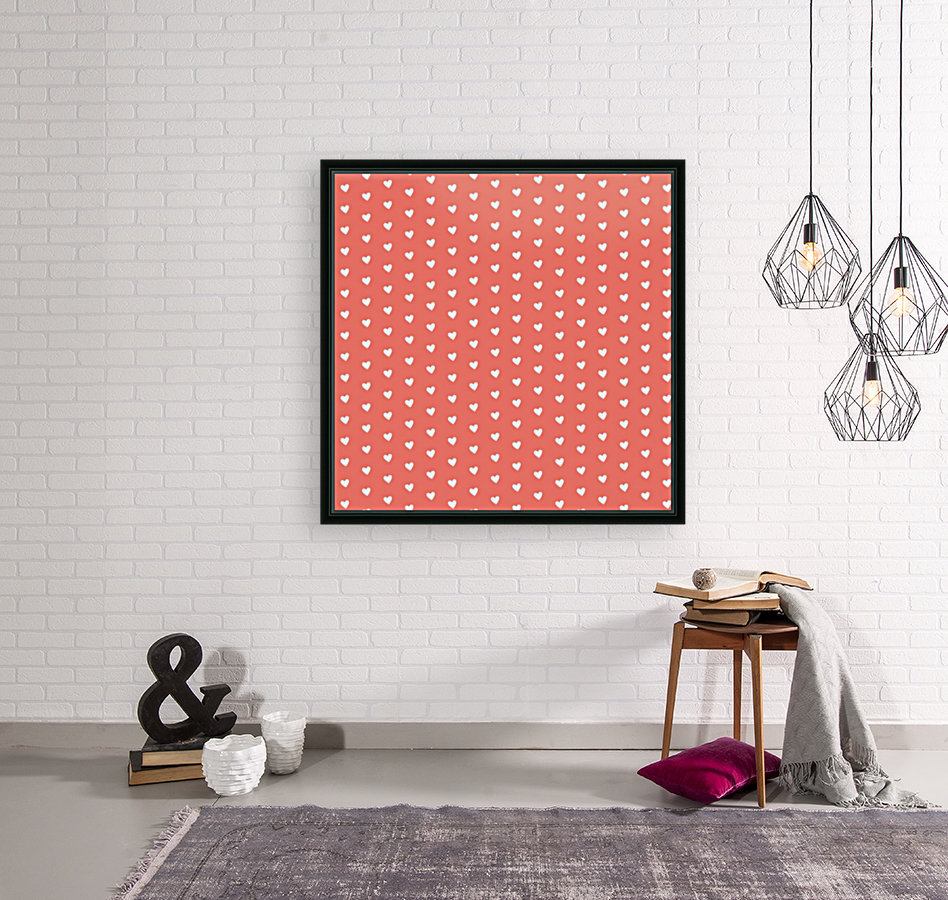 Peach Heart Shape Pattern with Floating Frame