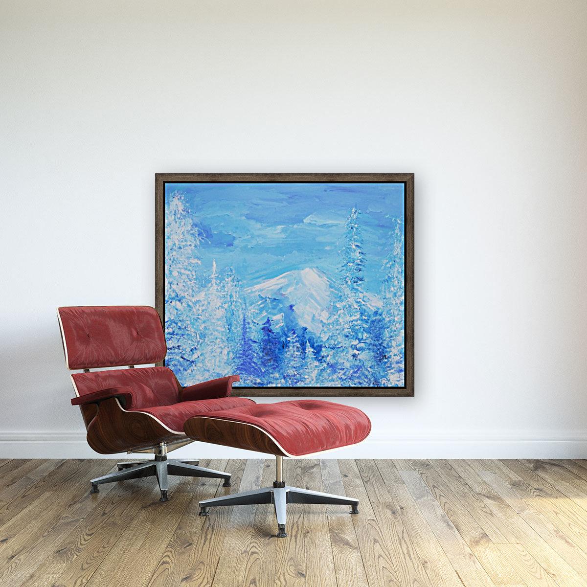 Monochromatic Blue Rocky Mountains  Art
