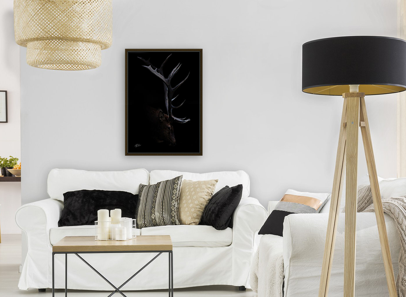 Elk in Black with Floating Frame