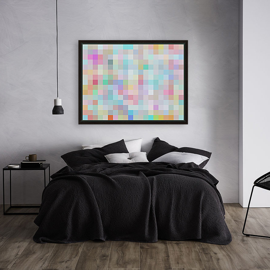 geometric square pixel pattern abstract in blue and pink  Art