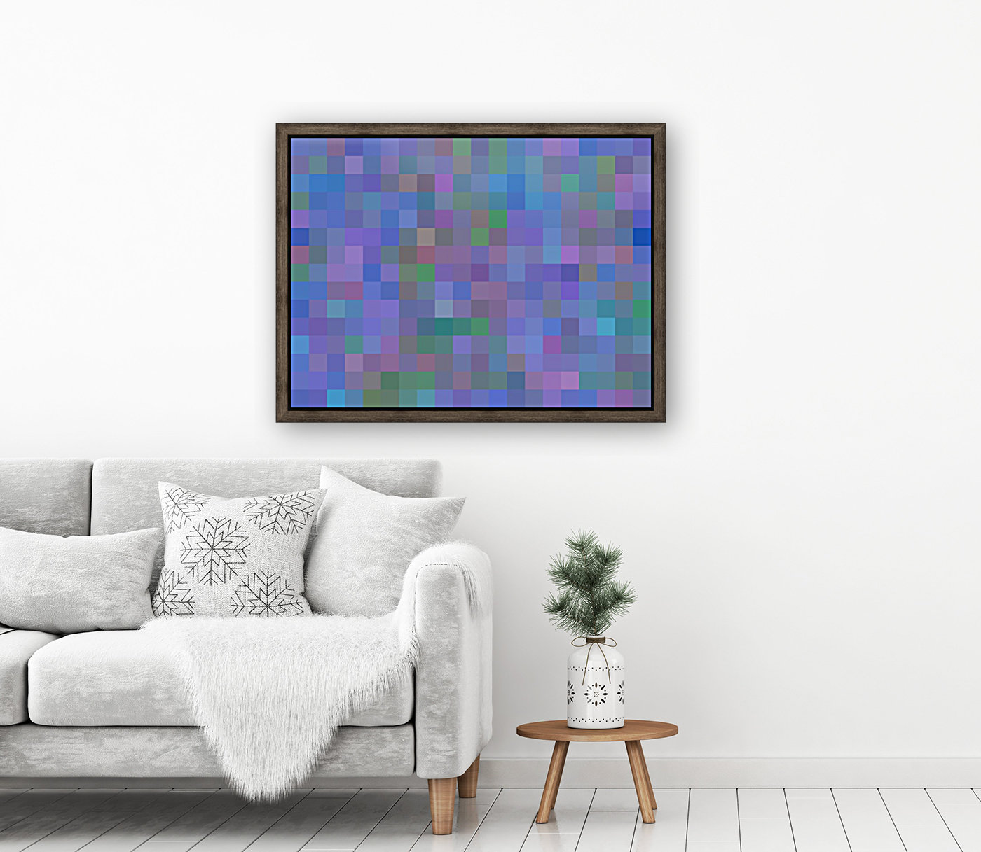 geometric square pixel pattern abstract in purple blue pink  Art