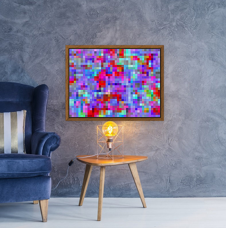 geometric square pixel pattern abstract background in blue purple pink red  Art