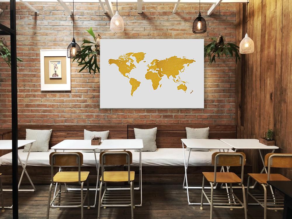 Golden World Map - White Background  Art
