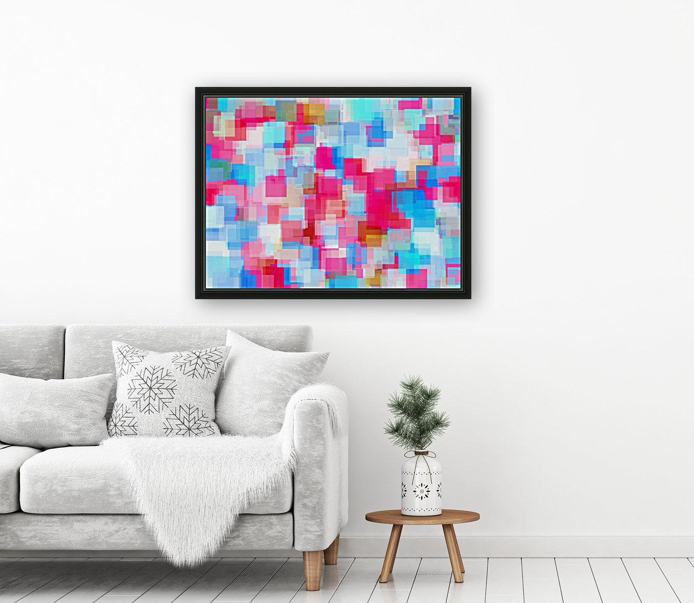 geometric square pattern abstract background in pink and blue  Art