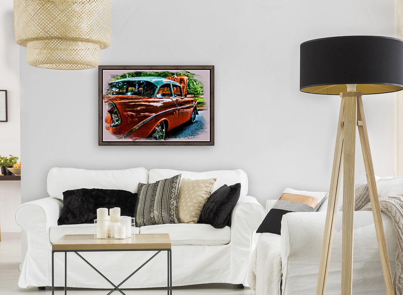 Classic Orange Car in Park Painting  Art
