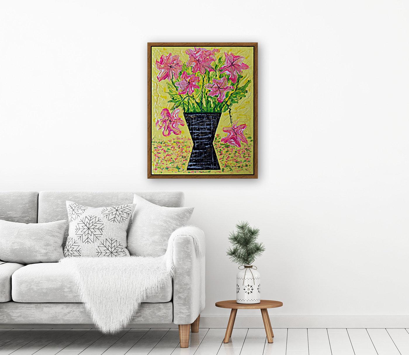 Pink Flowers in vase   Art