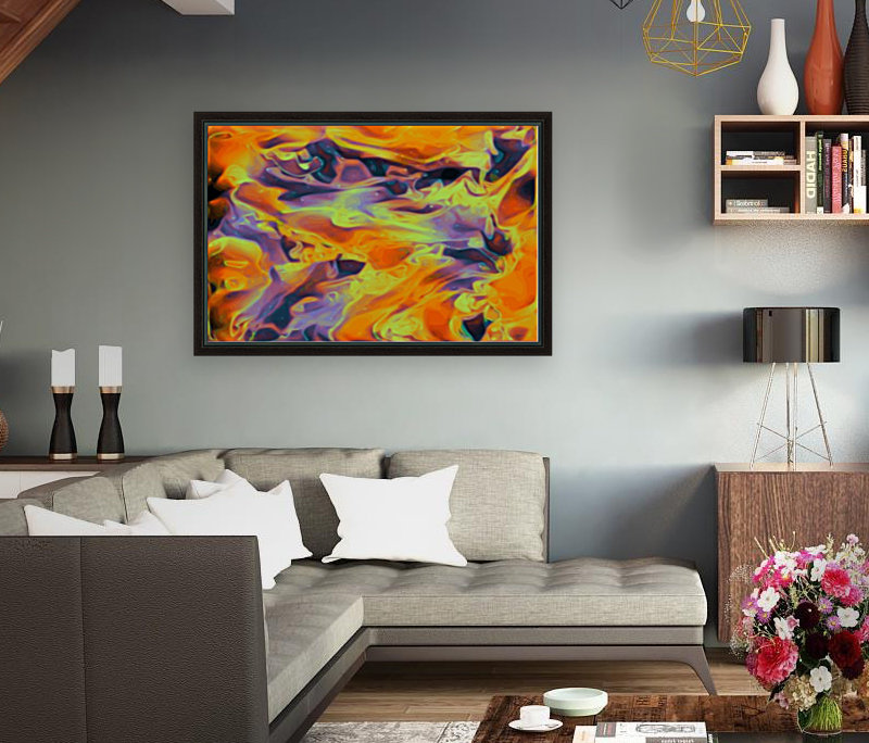 Blazin - multicolor orange gold purple abstract swirls wall art with Floating Frame