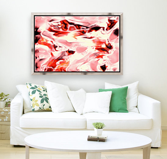 Super Charged - red orange pink abstract swirls wall art  Art