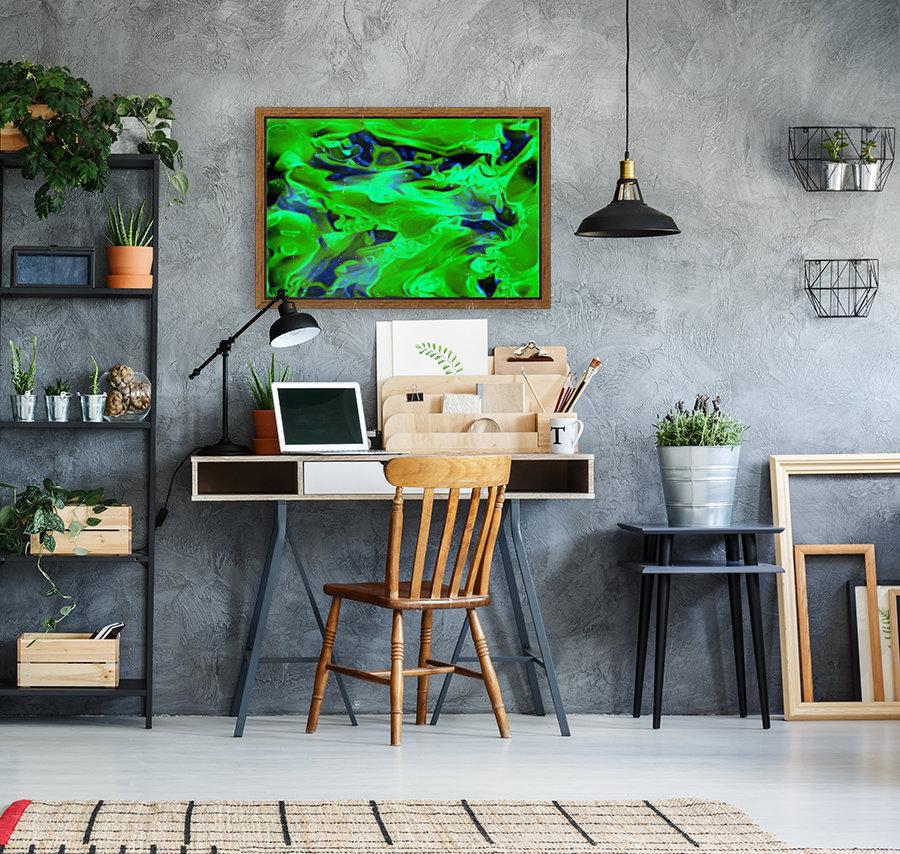 Gemphire - emerald green dark blue abstract swirls wall art  Art