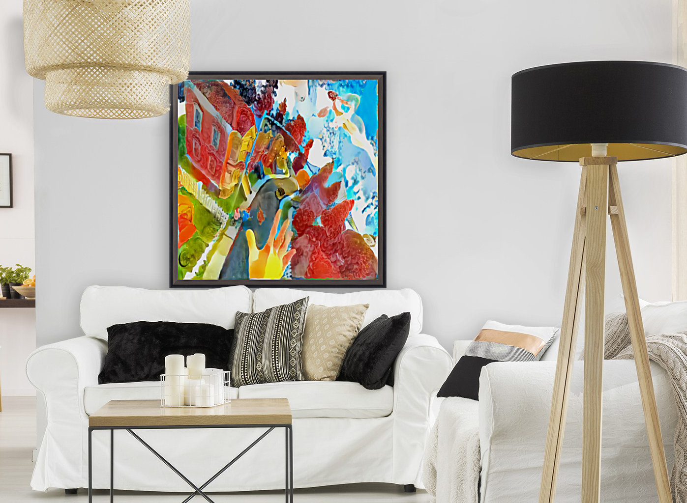 Vibrant Art with Floating Frame