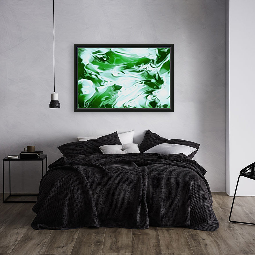 Clover - green white abstract swirl wall art  Art